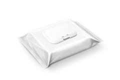 Blank packaging wet wipes pouch on white background Stock Image