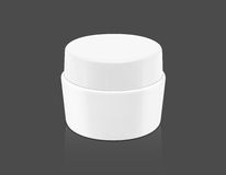 Blank packaging white cosmetic cream pot on gray Stock Image