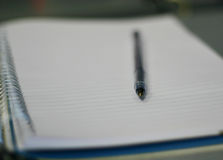 Blank pad. A blank notebook page with shallow DoF Royalty Free Stock Photography