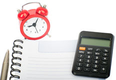 Blank pad with alarm clcock Stock Photography