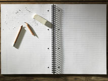 Blank Pad of Paper Eraser and Broken Pencil Stock Photos