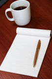 Blank Pad of Paper, Pen and Coffee Royalty Free Stock Images