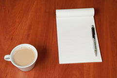 Blank Pad of Paper, Pen and Coffee Royalty Free Stock Photography