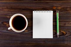 Blank Pad of Paper ready for your own text, Pen Coffee.  Royalty Free Stock Image