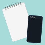 Blank page of book and mobile phone Royalty Free Stock Photo