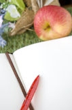 Blank page of book put with fresh apple Stock Photography