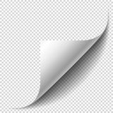 Blank page with curled corner and soft shadow. Corner of sheet. Of paper. Realistic vector illustration isolated on transparent background, eps 10 Stock Photography