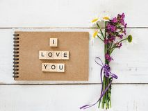 Blank page and a Declaration of love stock photos