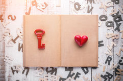 Blank page Diary and red old keys with red heart Royalty Free Stock Photo