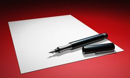 Blank page with fountain pen concept. 3D Illustration blank page with fountain pen on red background Royalty Free Stock Images