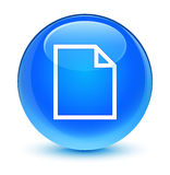 Blank page icon glassy cyan blue round button Stock Photos