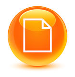 Blank page icon glassy orange round button Stock Image