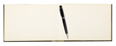 Blank page of note book with ball pen Stock Photo