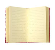 Blank page of note book isolate on white (clipping path) Stock Photos
