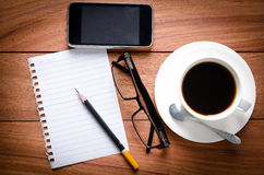 Blank Page notebook and a cup of coffee Royalty Free Stock Photography