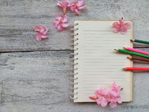 blank page of notebook and pencil concept and idea background Stock Image
