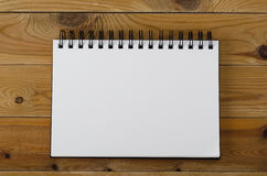 Blank Page Notebook on Wood Stock Images