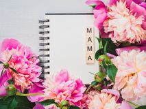 Blank page of the notebook with the word MAMA royalty free stock photos