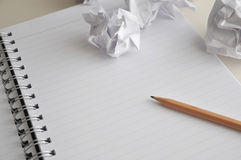 Blank Page Of Notebook With Pencil And Crumpled Paper Royalty Free Stock Photos