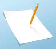 Blank page and pencil. On light blue in background. designers can apply their own designs on it Stock Photography