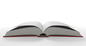 Blank Paged Book Open. A regular hard cover book open in the middle with blank white pages on an  white background Royalty Free Stock Images