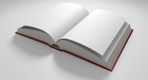 Blank Paged Book Open. A regular hard cover book open in the middle with blank white pages on an  white background Stock Photography