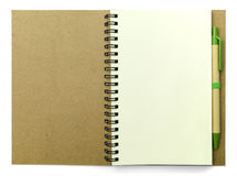 Blank pages of diary with pen on white background Royalty Free Stock Image