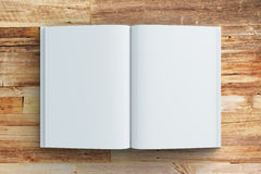 Blank pages of diary on wooden table Royalty Free Stock Photo