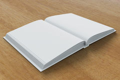 Blank pages of diary on wooden table Stock Photography