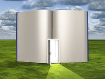 Blank pages of open book with doorway. Emiting light Royalty Free Stock Images