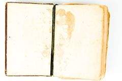 Blank pages of open vintage book. Textured yellowish paper royalty free stock photography
