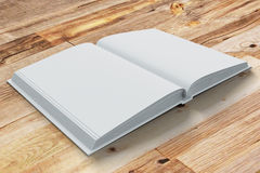 Blank pages of opened diary on wooden table Stock Photos