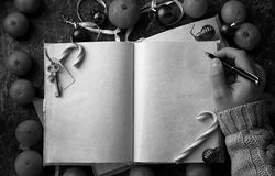 Blank pages opened vintage book on the table royalty free stock photos