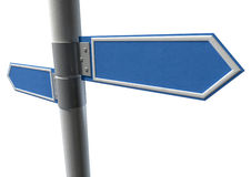 Blank Pair Pointing Signs. Two generic blank directional street signs on a pole facing in opposite directions Royalty Free Stock Images