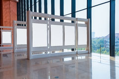 Blank panel in exhibition hall Stock Photos