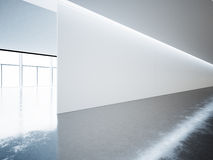 Blank panoramic wall in museum interior with Stock Images