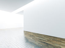 Blank panoramic wall in museum interior with Royalty Free Stock Photography