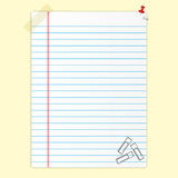 Blank paper. Sheet and clips Stock Images