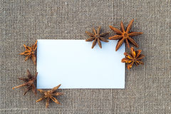 Blank paper anise on sacking Stock Image