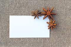 Blank paper anise on sacking Royalty Free Stock Images