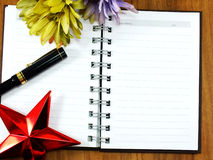 Blank paper background with pen. And flower Stock Photo