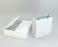 Blank paper bags set on gray background. 3d rendering. Blank paper bags set on gray background. 3d rendering Stock Images