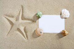 Blank paper beach sand starfish pint shells summer Stock Photo