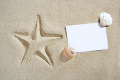 Blank paper beach sand starfish pint shells summer Stock Image