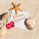 Blank paper beach sand starfish shells summer Royalty Free Stock Image