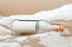 Blank Paper In A Bottle Stock Image
