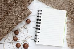 Blank paper on burlap Stock Images