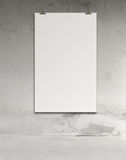 Blank paper card 3d on composition wall Stock Photos