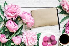 Blank paper card with pink peony flowers, macarons and coffee cup on white wooden background. flat lay. top view royalty free stock photos