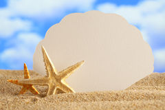 Blank paper card and starfishes Royalty Free Stock Images